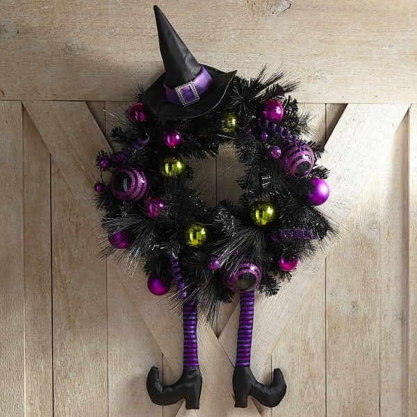 Witch Hat & Broom Purple Ornament Wreath