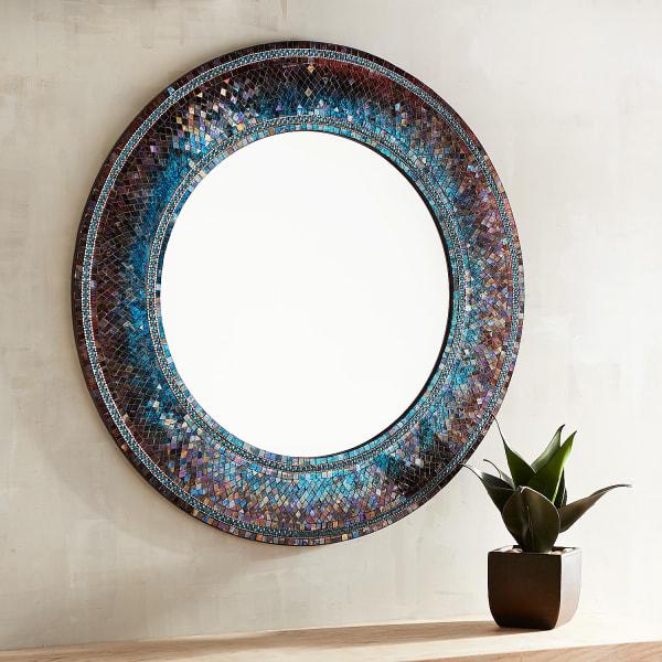 Midnight Splendor Mosaic Round Mirror
