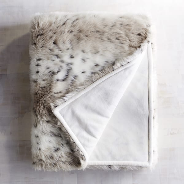 Luxe Faux Fur Taupe Leopard Throw