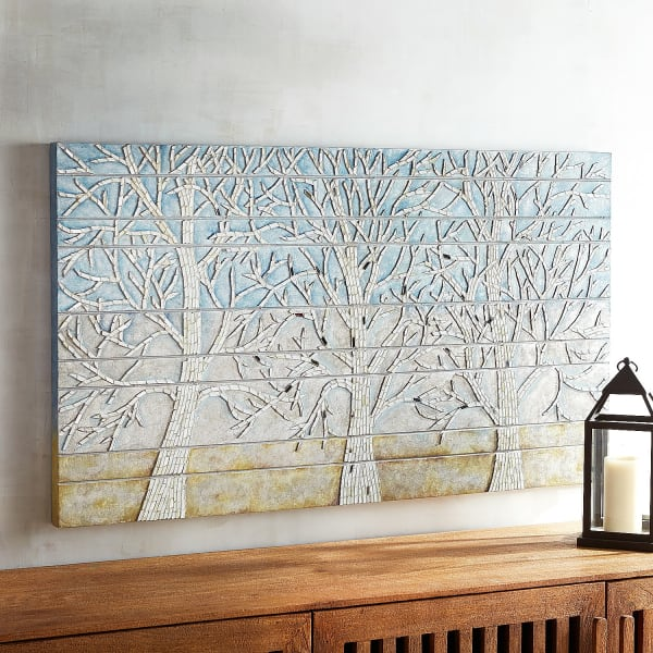 Blue Shimmering Trees Mosaic Wall Decor
