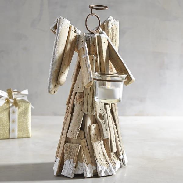 Driftwood Angel Tealight Candle Holder