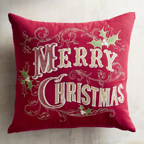 Merry Christmas with Holly Pillow