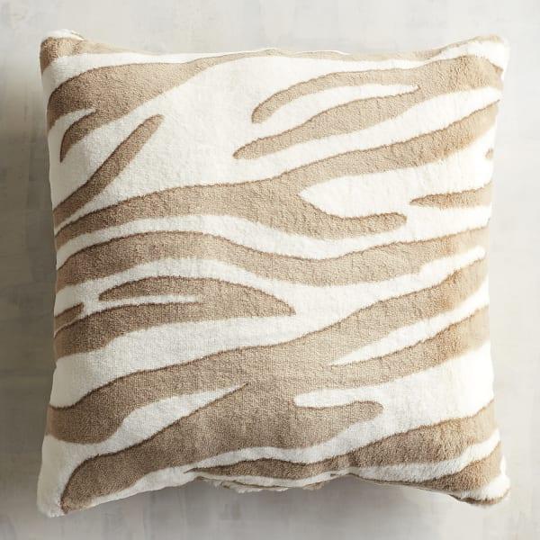 Faux Fur Snow Zebra Pillow