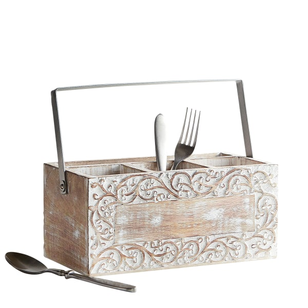 Hand-Carved White Washed Vine Utensil Caddy