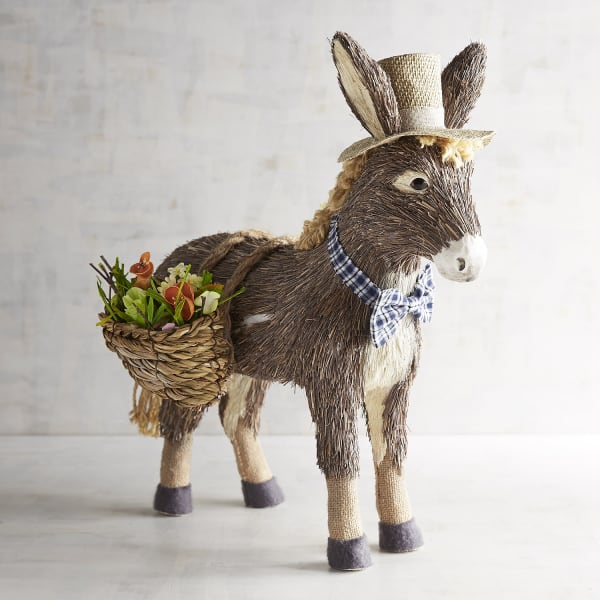 Topper the Donkey with Baskets Natural Decor