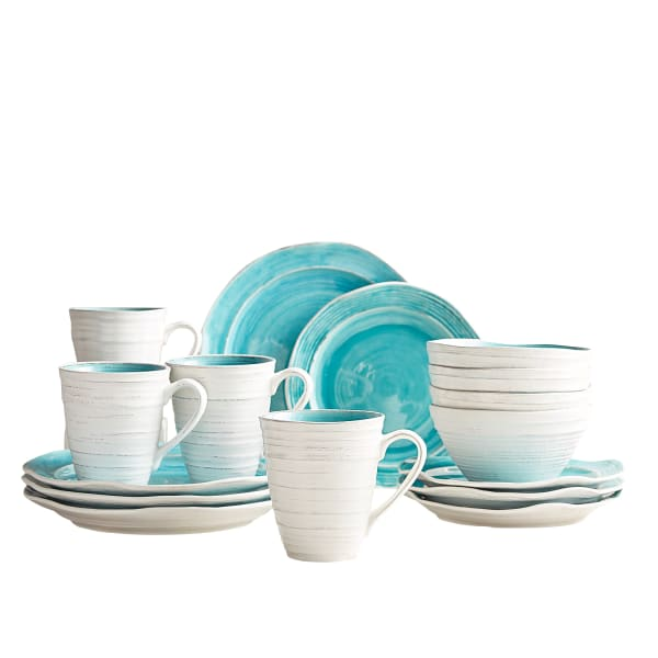 Midori Turquoise 16-Piece Dinnerware Set