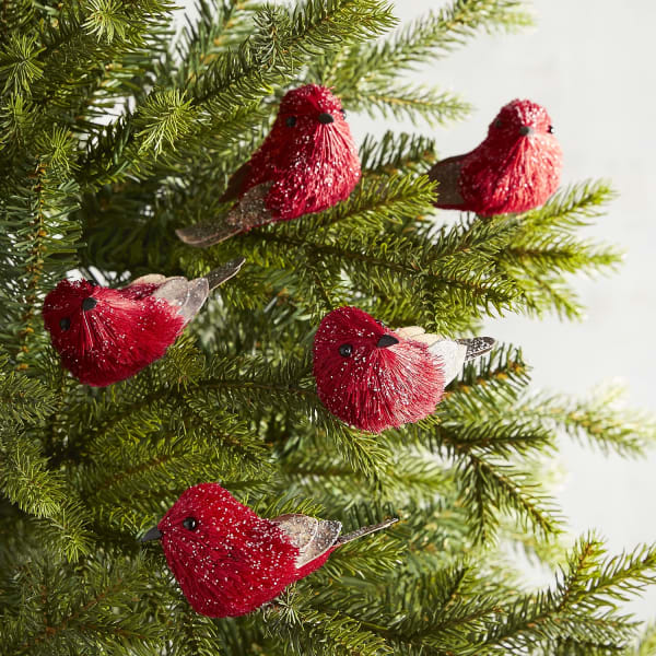 Red Birds Clip Ornaments Boxed Set of 5