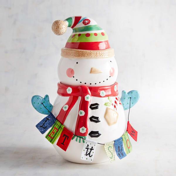 Hand-Painted Snowman Cookie Jar