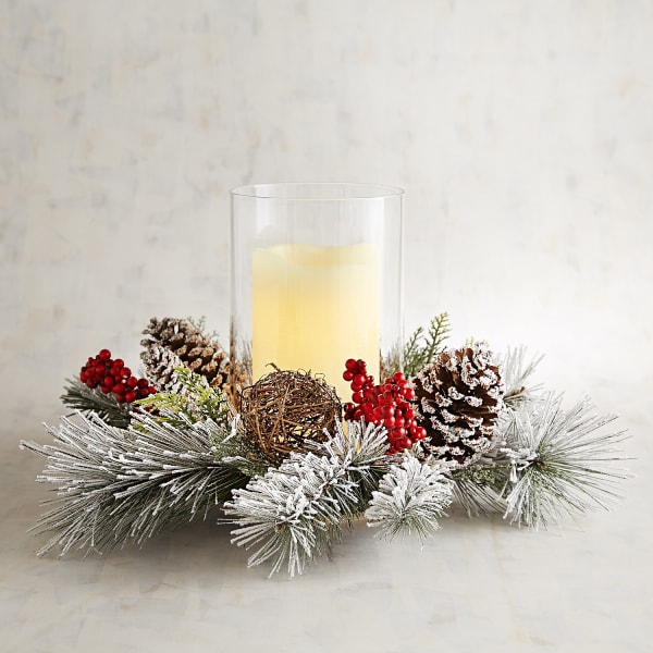 Snowy Pinecone Hurricane Candle Holder
