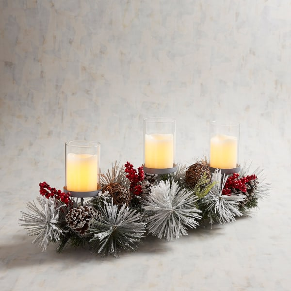 Snowy Pinecone Candle Holder