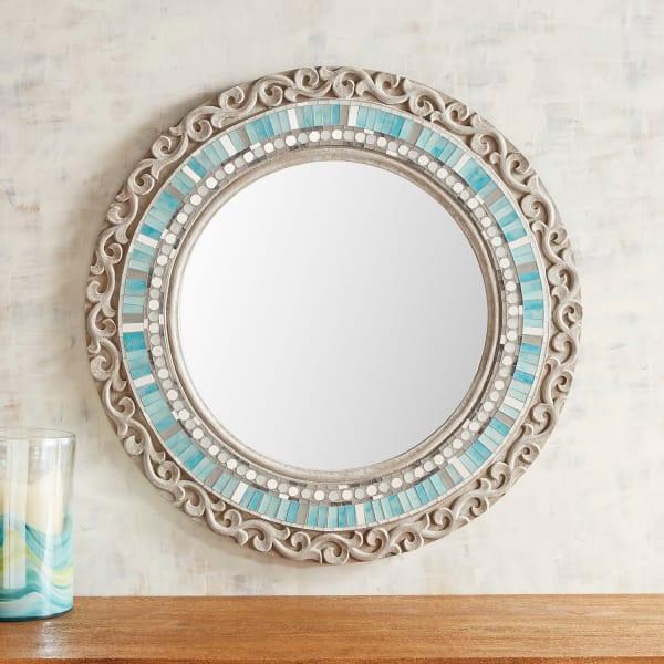 Aqua Mosaic Carved 32