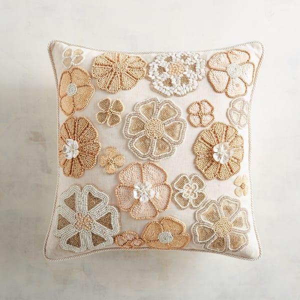 Beaded Neutral Flowers Pillow