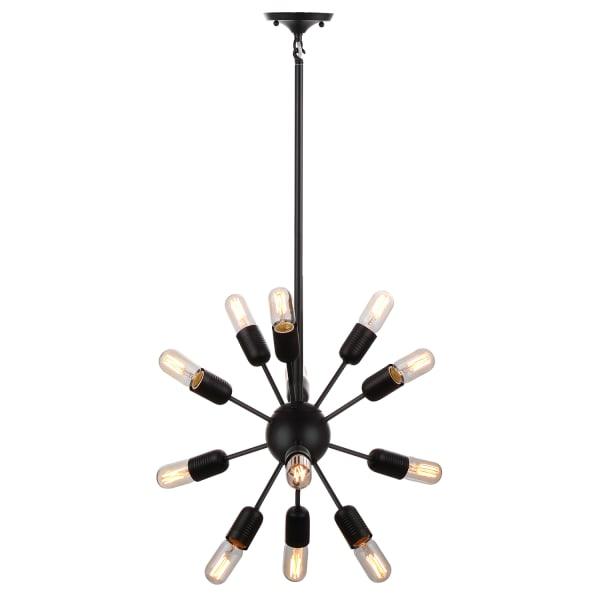 12-Light Round Black Pendant Light