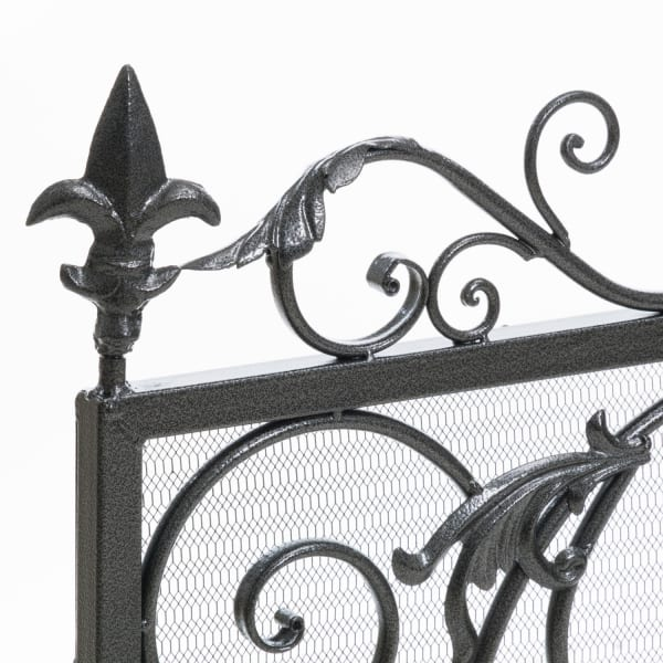 Silver & Black Fireplace Screen