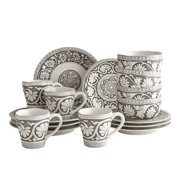 Moana Gray 16-Piece Dinnerware Set