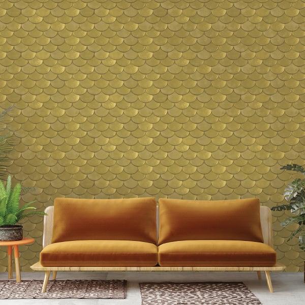 Genevieve Brass Metallic Old World Self-Adhesive Wallpaper