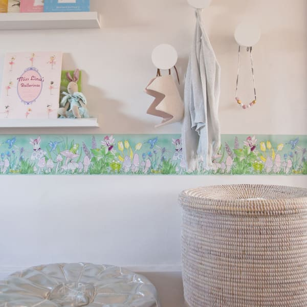 Magical Garden Green Self-Adhesive Borders Removable Wallpaper