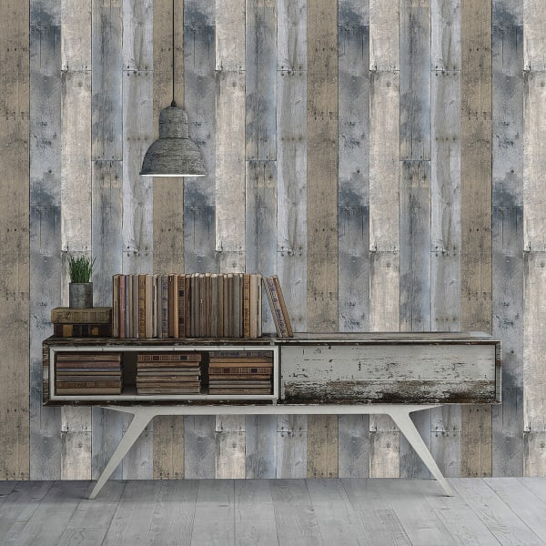 Repurposed Wood Self-Adhesive Removable Wallpaper