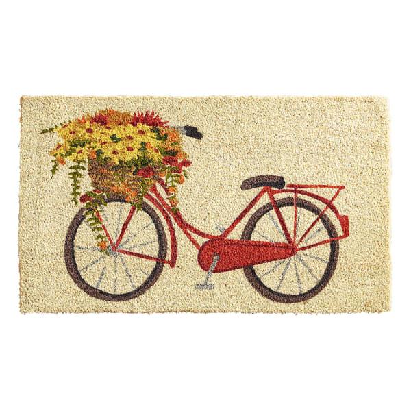 Bike Flower Basket Doormat
