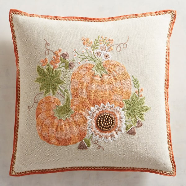 Terracotta Pumpkin & Sunflower Pillow
