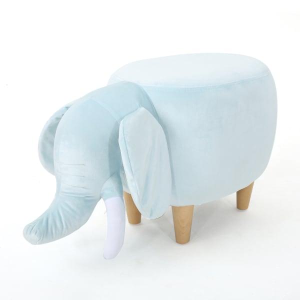 Kids Blue Velvet Elephant Ottoman