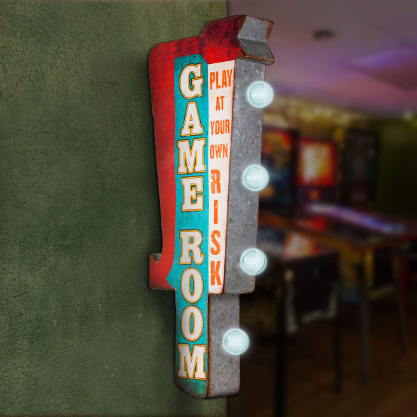 LED Light-Up Play At Your Own Risk Marquee Sign