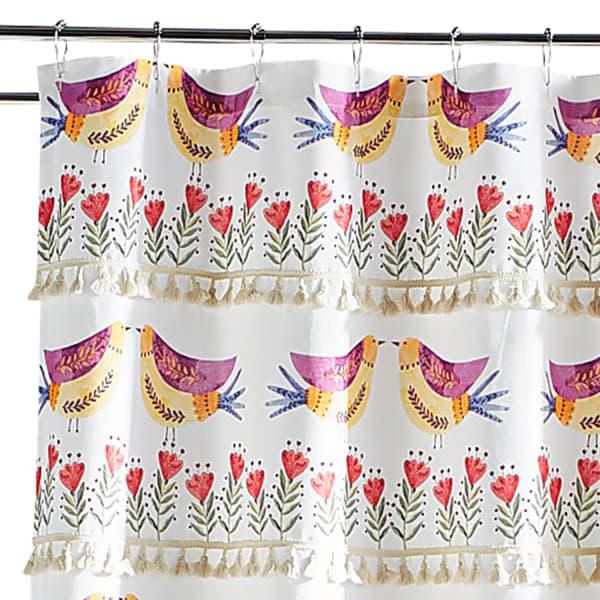Multirolor Lovebirds Fringed Shower Curtain