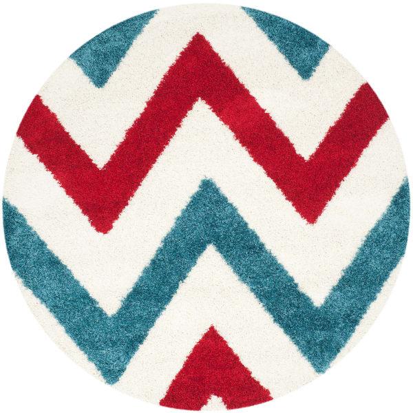 Layla Chevron Blue & Red 7' Round Rug