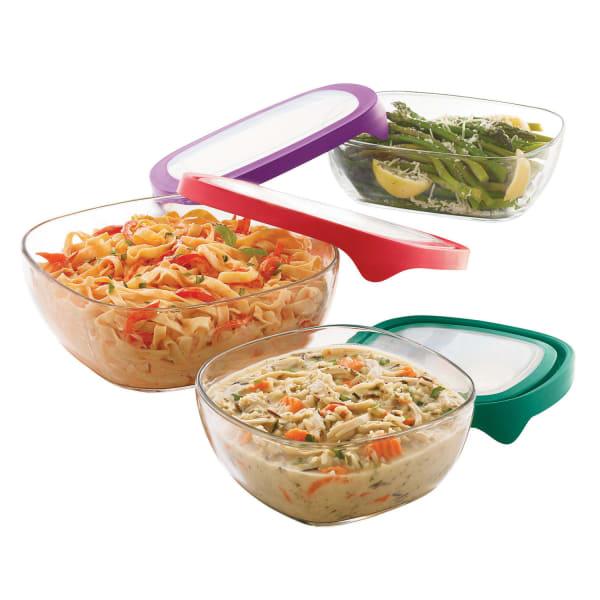 Libbey® Serve It 3-Piece Large Glass Serveware Set with Lids