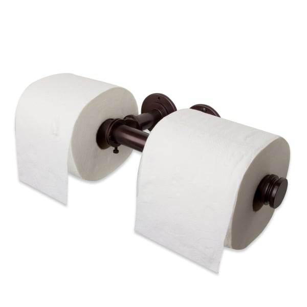 Bronze Industrial Pipe Double Toilet Paper Holder or Closet Rod