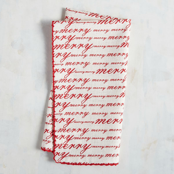 Red Merry Script Napkin