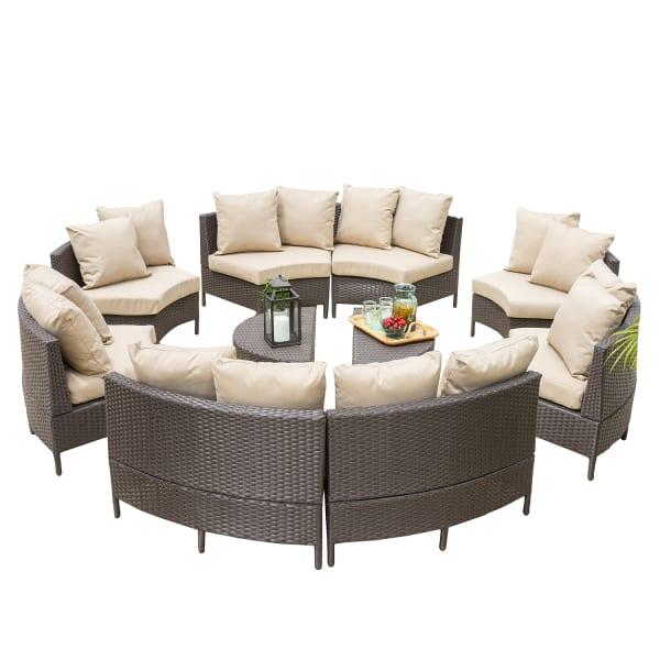10-Piece Dark Brown Wicker Lounge Set with Cushions