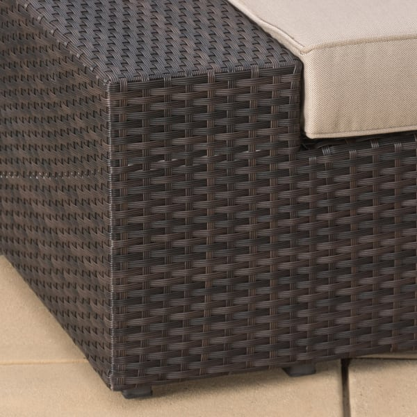 Dark Brown 6 Piece Wicker Sectional with Cushions