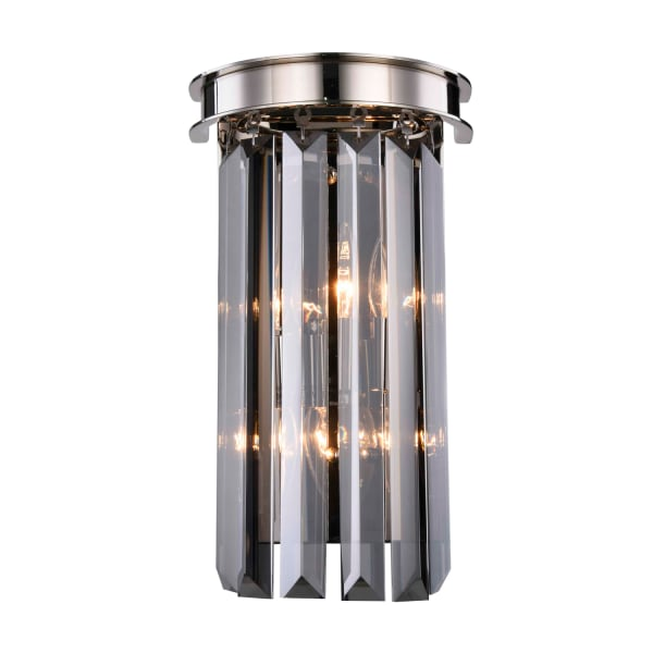 Polished Nickel Wall Sconce with Sliver Crystals