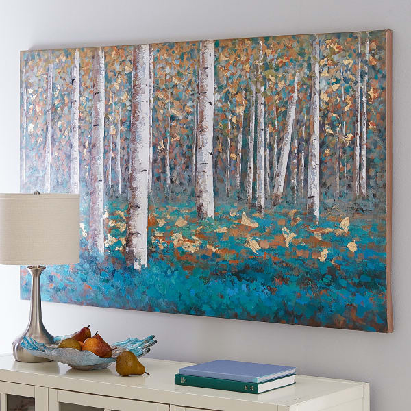 Luxe Teal Birch Tree Art