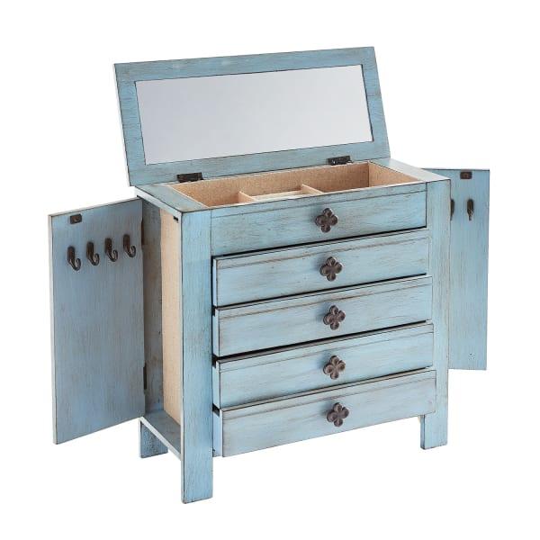 Antiqued Blue Jewelry Box