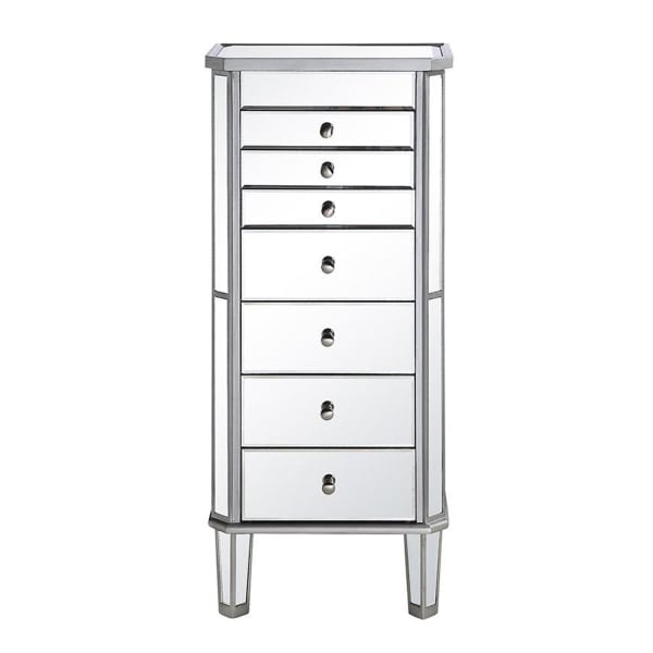 Mirrored Silver Jewelry Armoire