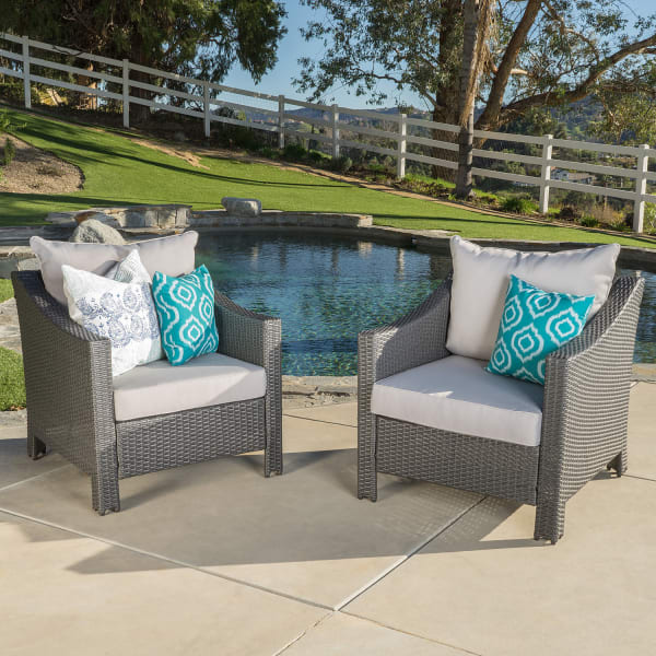 Berner Gray Wicker Chair with Silver Cushion Set of 2