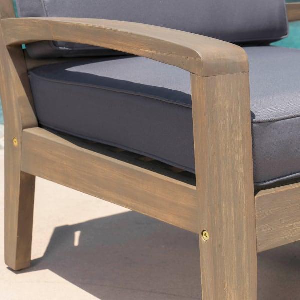 Gray Acacia Wood 4-Piece Set with Dark Gray Cushions