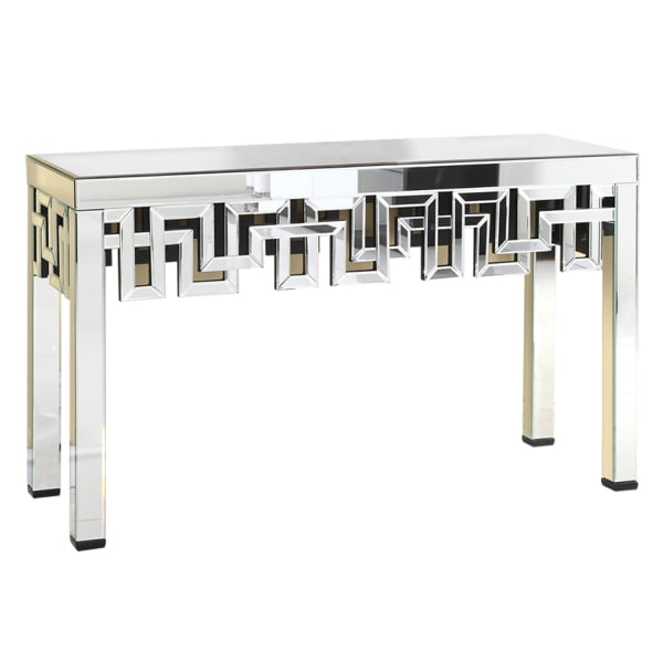 Geometrical Mirrored Silver Console Table