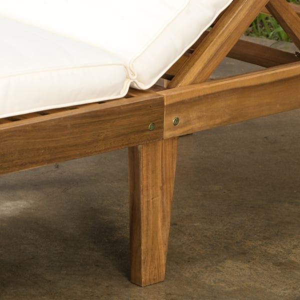 Adrianna Acacia Wood Chaise Lounge with Cushion