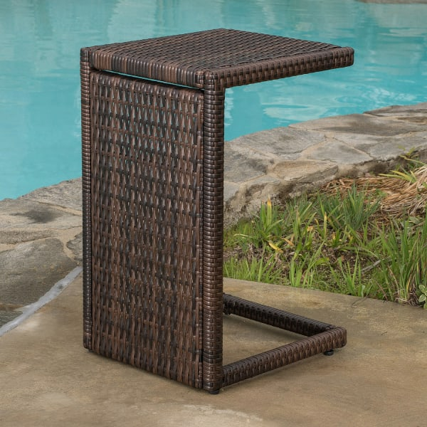 Venice Brown Lounger with C-shaped Wicker Table 3-Piece Set