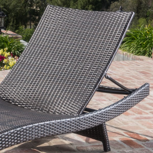 Chaise Lounge with Blue Cushion Set of 2