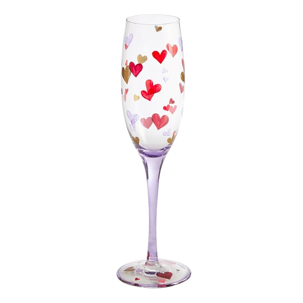 Valentine's Day Scattered Hearts Champagne Flute