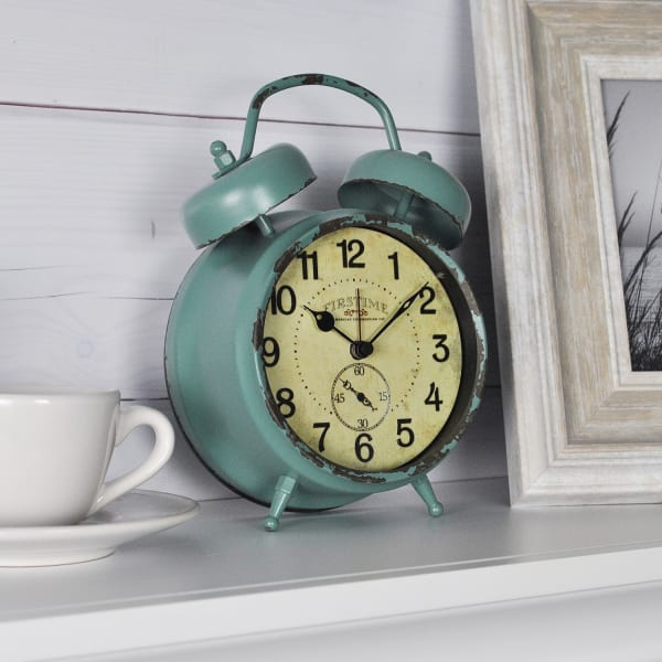Double Bell Aged Teal Metal Tabletop Clock