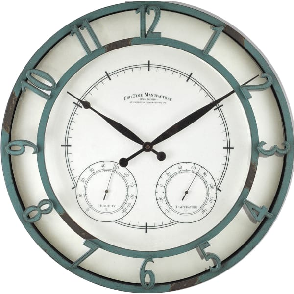 Laguna Aged Teal Outdoor Clock