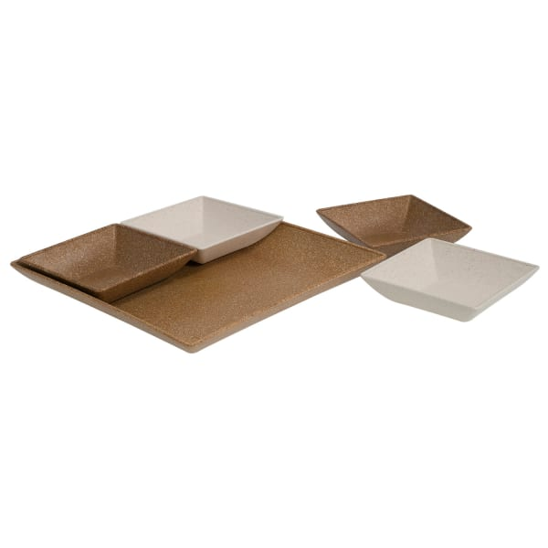 EVO Sustainable Goods Eco-Friendly Light Brown Serving & Snack Dishes Set of 5