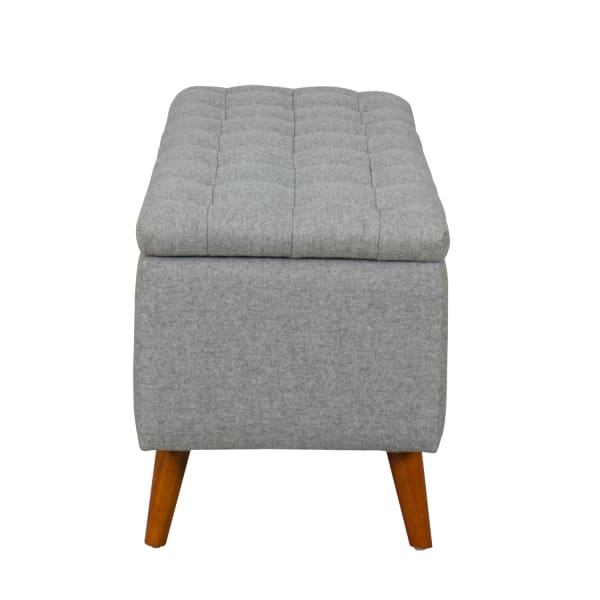 Arlington Light Gray Storage Bench with Button Tufting