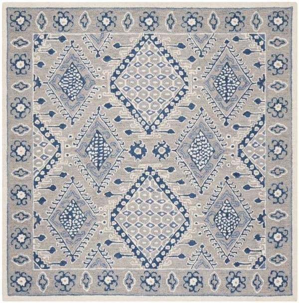 Essence 511 5' X 5' Square Gray Wool Rug