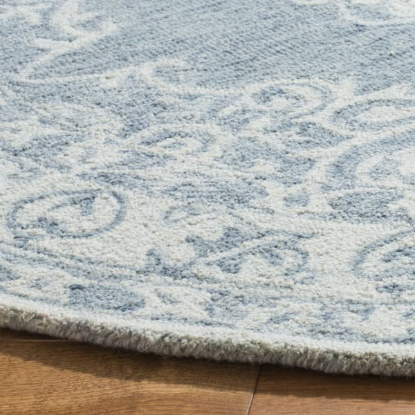 Essence 604 5' X 5' Round Blue Wool Rug